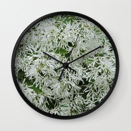 TEXTURES: White on Green Wall Clock