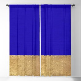 Color Blocked Gold & Cerulean Blackout Curtain