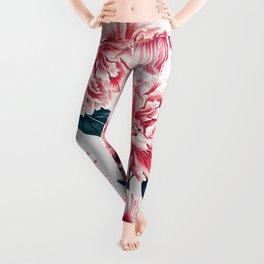 Pattern pink vintage peonies Leggings