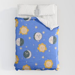 Sun Moon and Stars Comforters