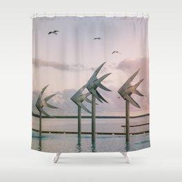 Cairns Woven Fish Sculpture (Group) | Cairns Australia Ocean Sunrise Travel Photography Shower Curtain