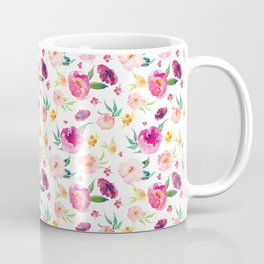 Peony Roses Watercolor Flowers Coffee Mug