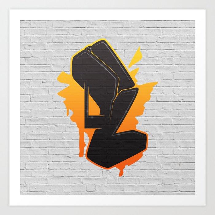 Letter Art Print.L Graffiti Letter Art Print By Joax