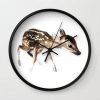 bambi Wall Clocks featuring Bambi by Giusi Tomasello