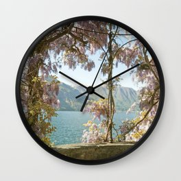 Lavender Wisteria Flowers and Mountains Wall Clock