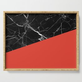 Black Marble with Cherry Tomato Color Serving Tray