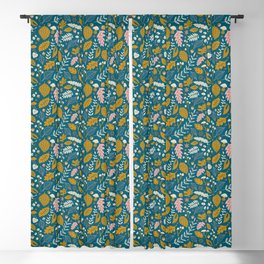 Fall Foliage in Blue and Gold Blackout Curtain