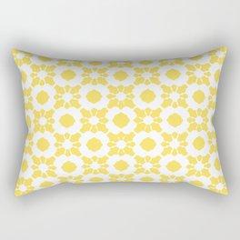 Yellow Ornamental Flower Pattern Rectangular Pillow