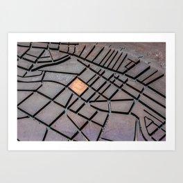 Metal Map Art Print