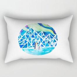 Aurora australis and icy mountains Rectangular Pillow