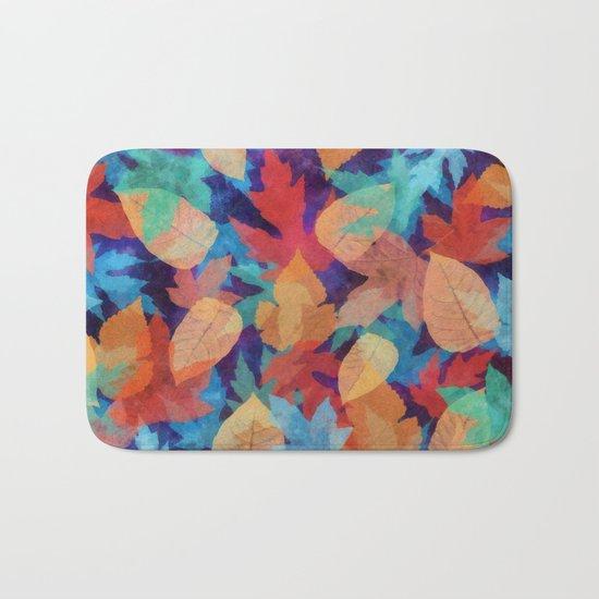Colorful fallen leaves Bath Mat