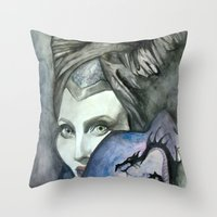 maleficent Throw Pillows featuring Maleficent by Giulia Colombo