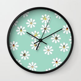 Bugs on Daisies in Teal Wall Clock