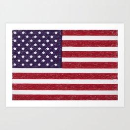 USA flag - in Crayon Art Print