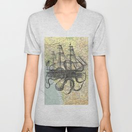 Octopus Attacks Ship on map background Unisex V-Neck