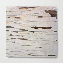 White Paint Peel Texture Metal Print