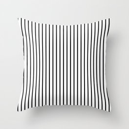 Black Pinstripe On White Pattern Throw Pillow