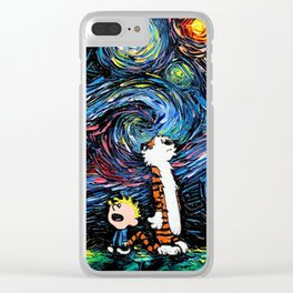 Calvin and Hobbes Vincent van Gogh Starry Night Painting Clear iPhone Case