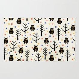 Black Owl Halloween pattern Rug