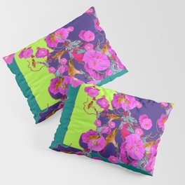 Pink Morning Glories on TEAL Art  LIME Design Pillow Sham