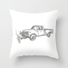 Snow Plow Truck Doodle Art Throw Pillow