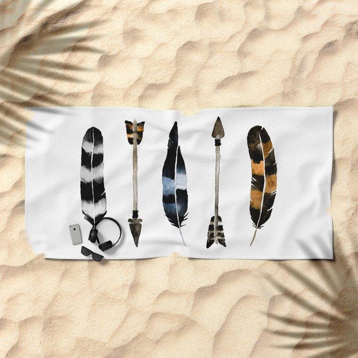 Flint & Feathers Beach Towel