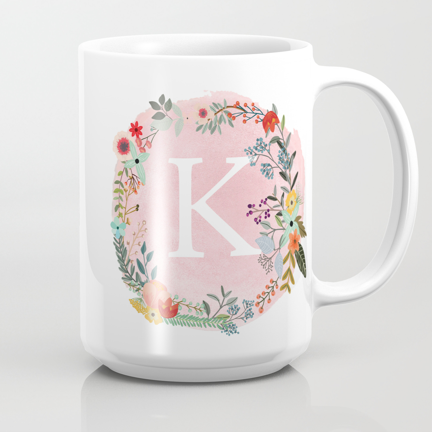 Flower Wreath With Personalized Monogram Initial Letter K On Pink Watercolor Paper Texture Artwork Coffee Mug By Aba2life Society6