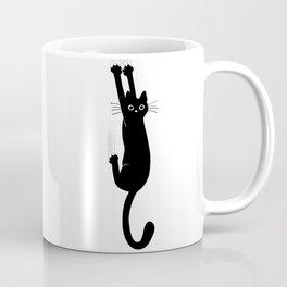 Black Cat Hanging On | Funny Cat Coffee Mug