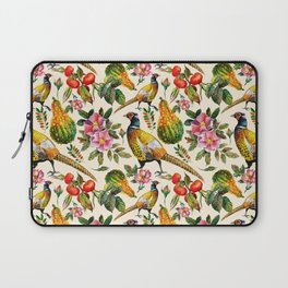 Vintage pink orange yellow ivory watercolor birds roses floral Laptop Sleeve