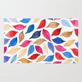Colorful leaves pattern in watercolor Rug