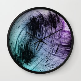 Wide Sweeping Black Brushstrokes with Aqua and Purple Wall Clock