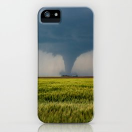 Behind the Scene - Large Tornado Passes Safely Behind a Farmhouse in Kansas iPhone Case