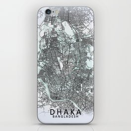 Dhaka, Bangladesh, White, City, Map iPhone Skin
