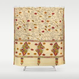 Kantha Fabric Art Shower Curtain
