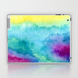 Modern neon yellow blue hand painted watercolor Laptop & iPad Skin