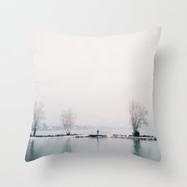 Annecy under the snow - French Alps Throw Pillow