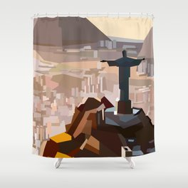 Geometric Christ the Redeemer, Brazil Shower Curtain