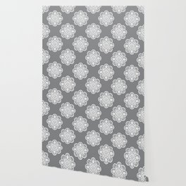Floral Doily Pattern | Grey and White Wallpaper