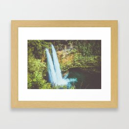 double waterfall in paradise Framed Art Print