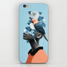 Girl with parrot iPhone Skin