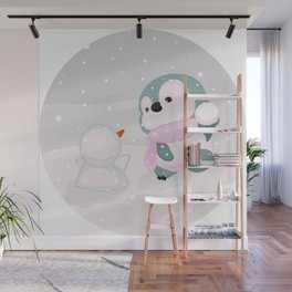 Baby Penguin and Snowman Wall Mural
