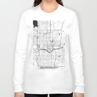 oklahoma Long Sleeve T-shirts featuring Oklahoma City Map Gray by City Art Posters