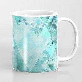 Triangles in aqua - Modern turquoise green blue triangle pattern Coffee Mug