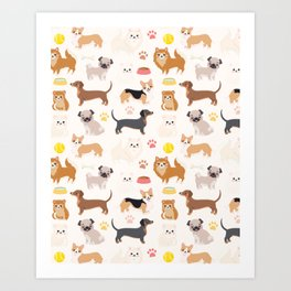 Cute Dog Pattern Art Print