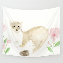 Weasel With Pink Flowers Wall Tapestry