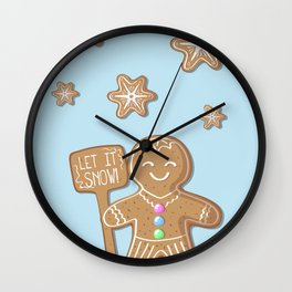 Merry Christmas Blue Poster with Gingerbread Man and Snowflakes Wall Clock