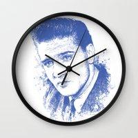 elvis presley Wall Clocks featuring Elvis Presley by Chadlonius