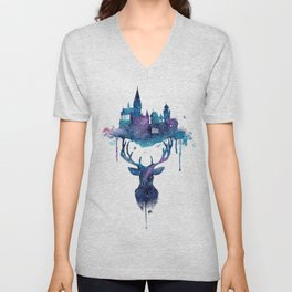 Always - Magical Deer in a Wizard World in watercolor Unisex V-Neck