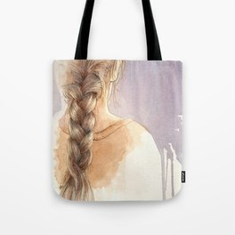 Girl with Braid in Watercolor Tote Bag