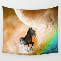 running Wall Tapestries featuring Running horse by nicky2342